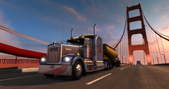 american truck simulator view on gaming laptop