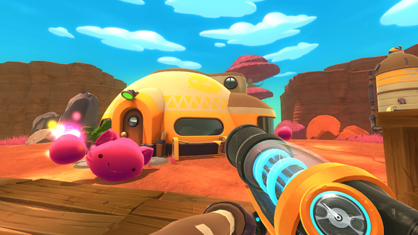 Playing Slime Rancher on pc gaming console as a first person game