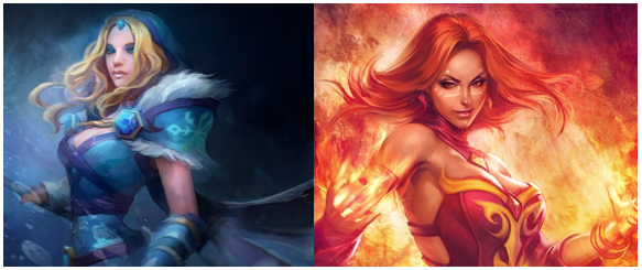 Rylai the Crystal Maiden and Lina the Slayer