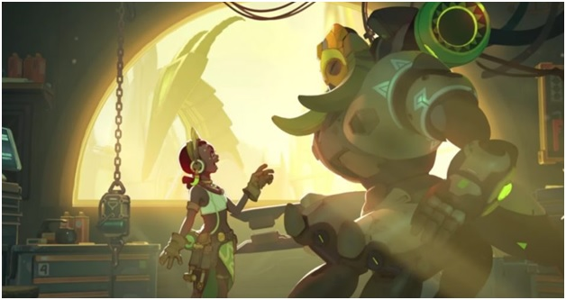 Screenshot of Orisa and her creation as seen in your gaming pc.