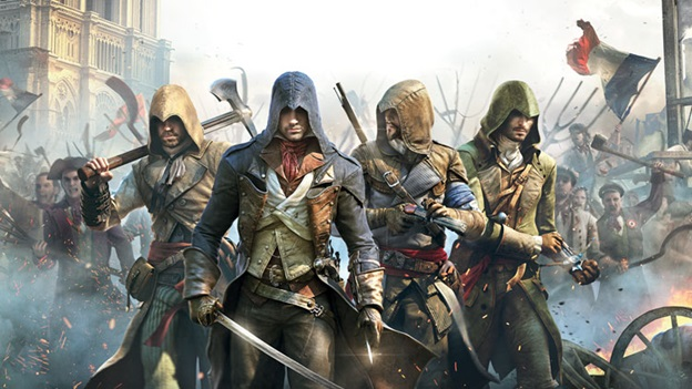Assassin's creed characters as played in a gaming pc