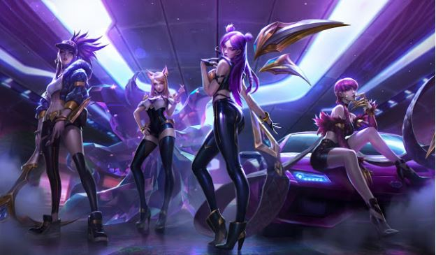 League of Legends New K-DA Skins As Seen in Gaming Laptop.